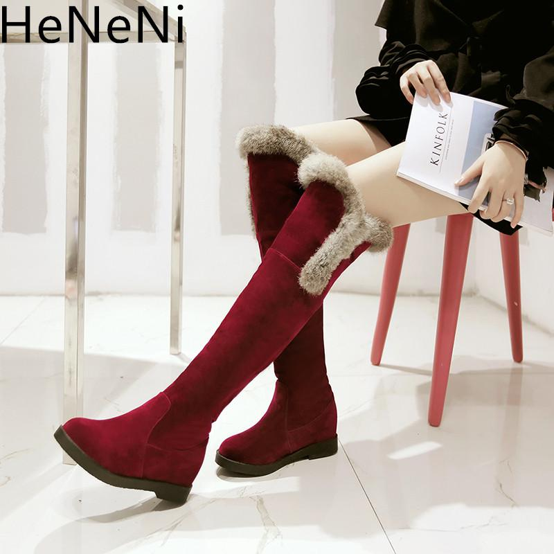 13b8e5442 Fashion Women Boots Fur Winter Over The Knee Boots Quality Suede ...