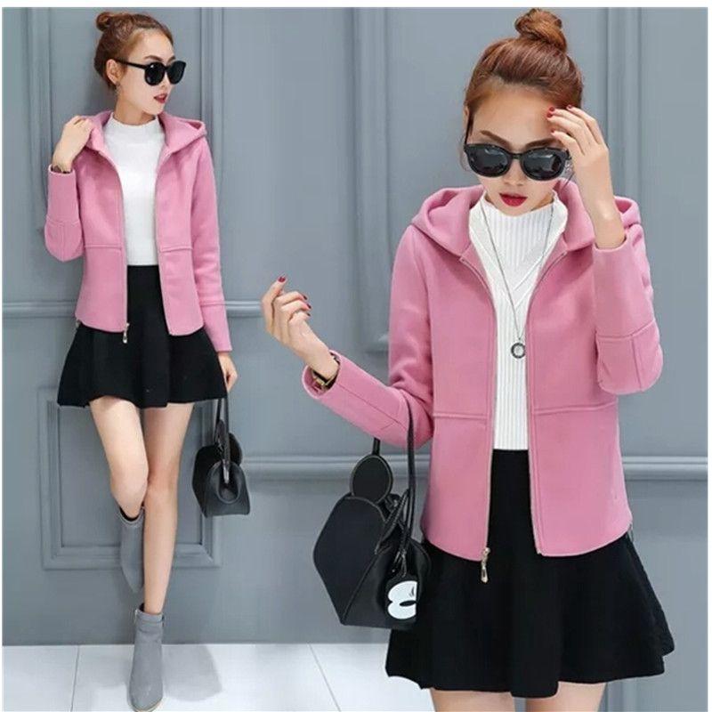 e127f9b0d 2019 Woolen Coat New Spring Autumn Clothing Hooded Women Wool Coat Thicken  Short Jacket Slim Elegant Women Coats Student Tops 2072 From Instachic, ...