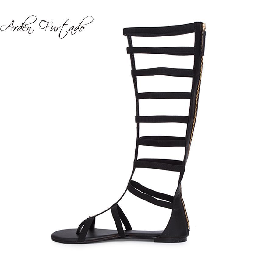 318b21b582b Fashion Summer Women S Shoes 2019 Sandals Ankle Strap Zipper Elegant Party Shoes  Black Gladiator Big Size Narrow Band Knee High Salt Water Sandals ...
