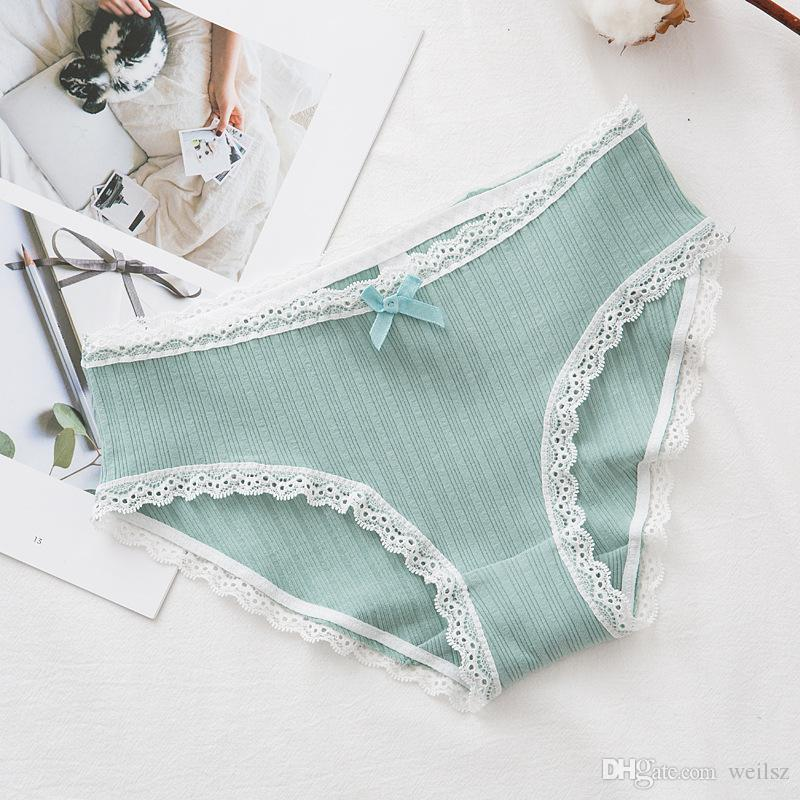 32db3f4531b4 2019 Women Underwear Low Waist Cotton Panties Lace Briefs Triangle Panty  For Womens Lingerie Intimate Free Size From Weilsz, $1.19 | DHgate.Com