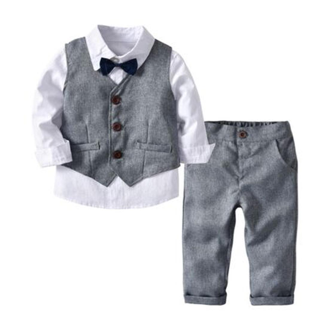 88dfc2916e568 2019 Toddler Baby Boys Formal Clothing Sets Infant Kids Fashion Shirt Tops+ Vest+Pants+Tie Outfits Party Wedding Gentleman Sets From Newestable