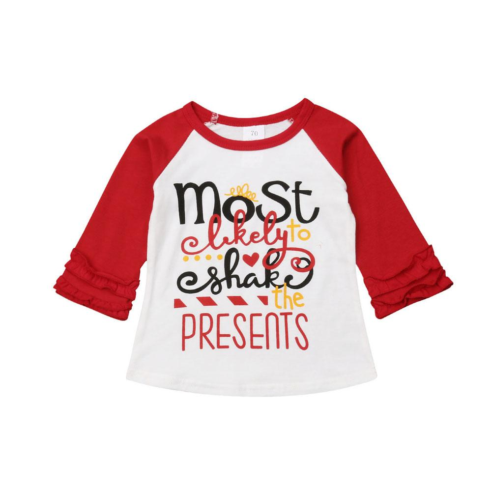 Toddler Baby Girl Christmas Clothes Letter Long Sleeve Tee Tops Layer Sleeve T-shirt Autumn Girl Clothes