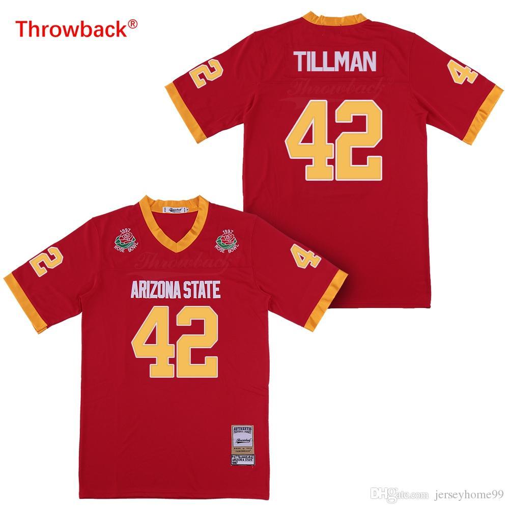 best service a9e2d 23eb5 1997 Rose Bowl Arizona State Sun Devis (ASU) Pat Tillman Jersey College  Football Jerseys Maroon Stitched Shirts Red
