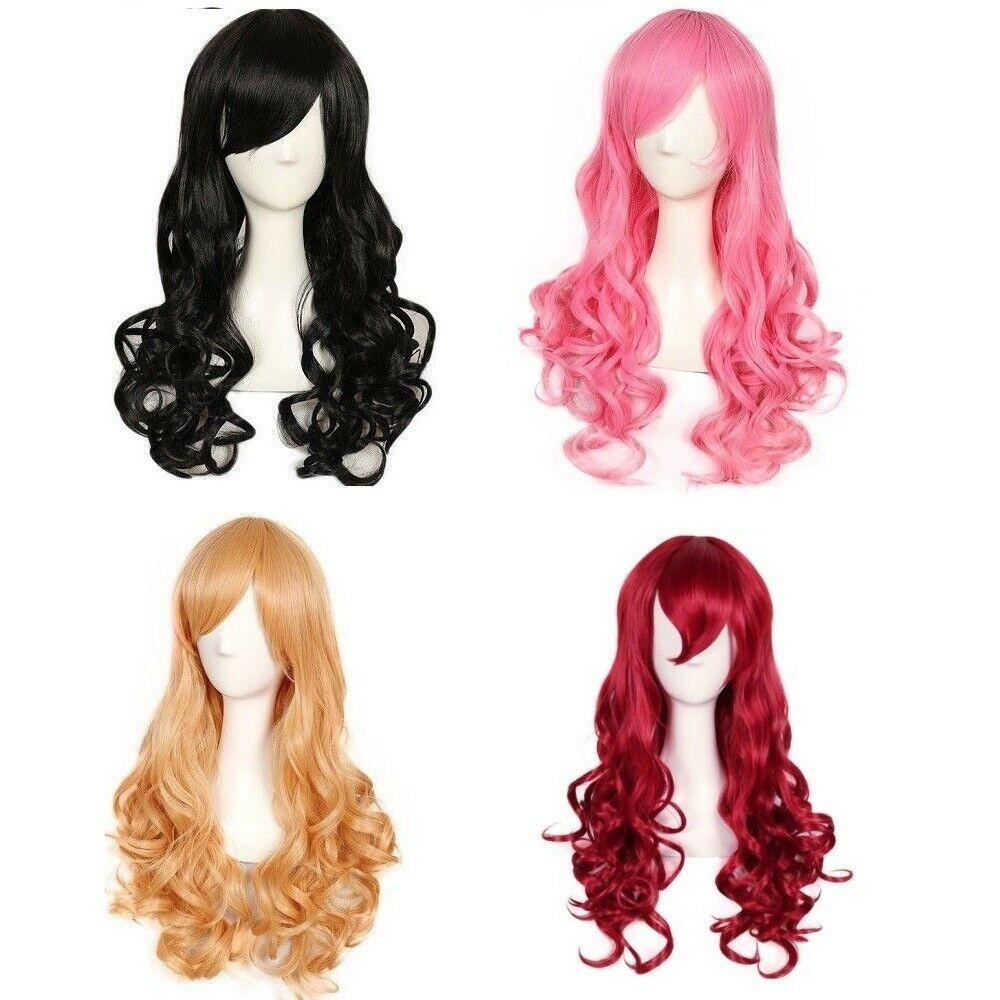 Size: adjustable Select color and style Women Lon Wavy Curly Cosplay Wig heat resistant Synthetic Hair Full Wig
