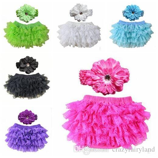 Baby Clothing Newborn Bloomers with Headbands Baby Infant Flower Diaper Covers Girl Ruffle Baby Shorts 10 Colors Free Shipping