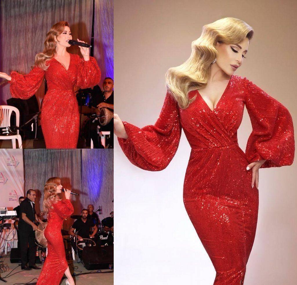 2019 Red Celebrity Evening Dress Sheath Sequins Long Poet Sleeves Holiday Women Wear Formal Party Prom Gown Custom Made Plus Size
