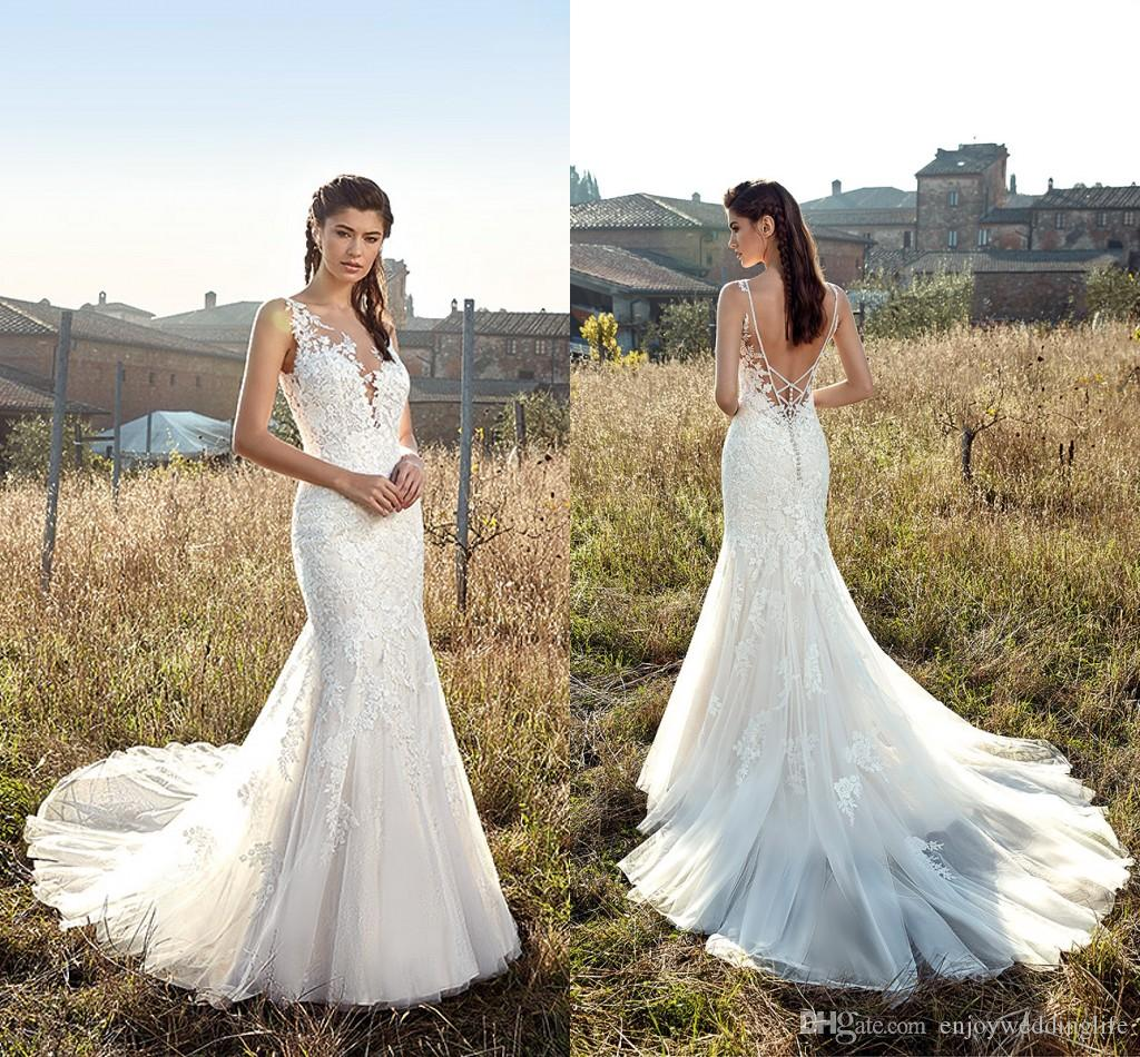 bfa2e592a4 Ivory Bohemia Beach Lace Mermaid Wedding Dresses 2019 Sleeveless V Neck  Sexy Backless Long Tulle Wedding Bridal Gowns Lace Appliqued Mermaid  Wedding Dress ...