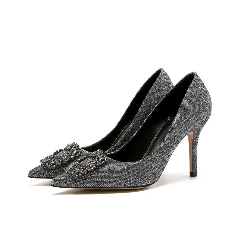 9322850623 Compre Mulheres Bombas Elegantes Strass Cetim De Seda De Salto Alto Sapatos  De Cristal De Metal Quadrado Fivela Sapatos De Festa Mulheres Sapatos De ...