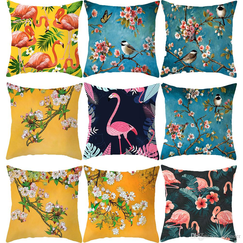 437a277c6b Watercolor Flamingo Palm Leaf Pink Peach Flower Birds Cushion Covers Modern  Decor Pillow Cases 44X44cm Sofa Chair Decor Outdoor Patio Pillows Large  Outdoor ...