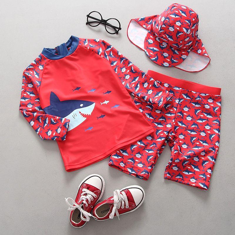 e05258dbdc 2019 2019 Summer Boys Cartoon Swimsuits Fashion Kids Shark Pattern Beach  Swimming Children Long Sleeve Swimwear With Hat Sets Y1342 From  Cherry_room, ...