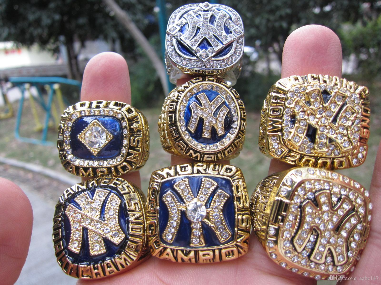2019 Baseball Yankees 7pcs New York World Championship Ring Set Souvenir Men Fan Gift Drop Shipping
