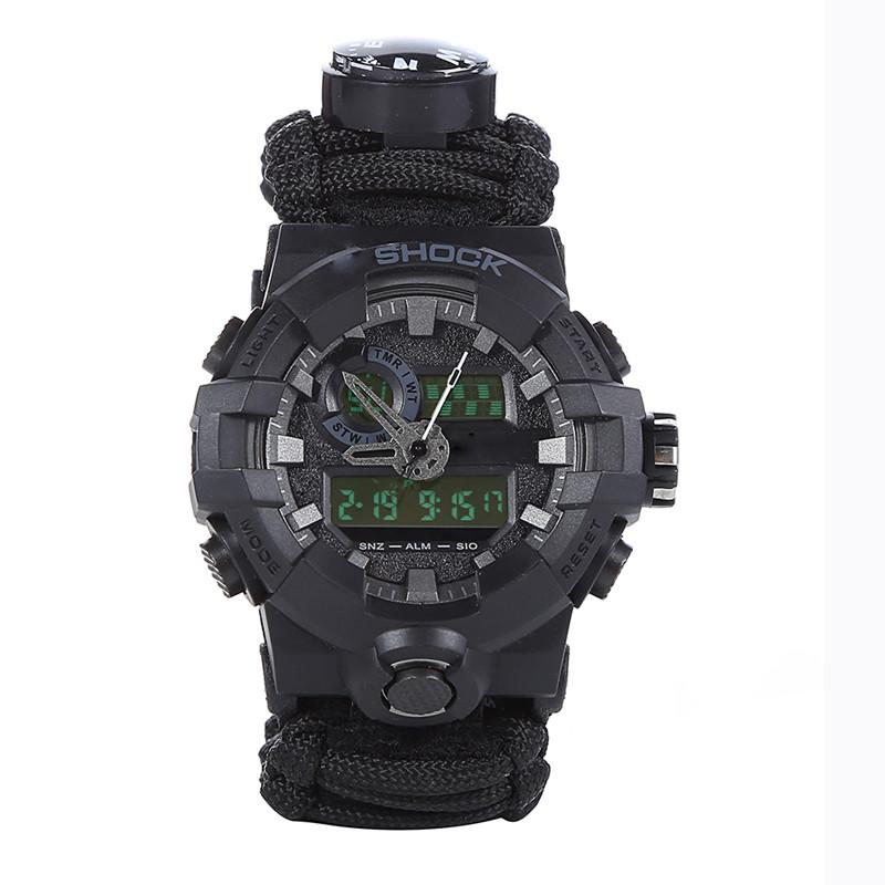 Outdoor Survival Paracord Watch Camping Multi-functional Survival Watch Compass Thermometer Rescue Rope Tactical Paracord Tools (2)