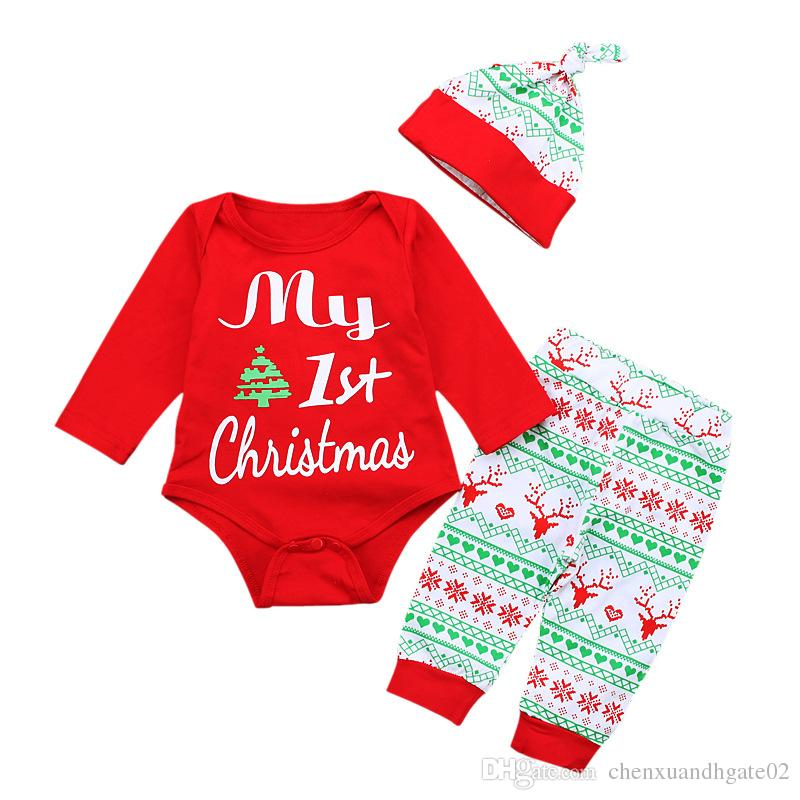 Baby Rompers Christmas Letter Printed Newborn Babies Striped Outfit Santa Claus Clothes PP Pants Kids Toddler Christmas Party Jumpsuit
