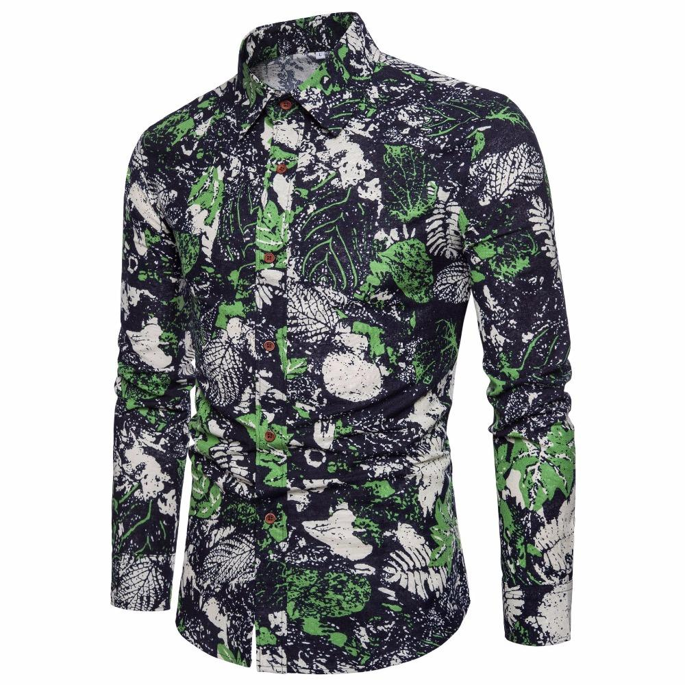 e0316472b93a Men s 2018 Men s Long Sleeve Shirt Hawaiian Shirt Camisa Masculina ...