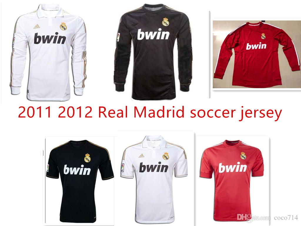 aa6a2abd4 NEW 2011 2012 Real Madrid Soccer Jersey 11 12 Retro Jersey Home Away ...