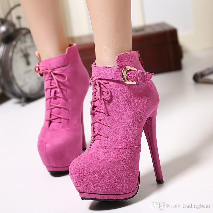 14cm Ultra high heels lace up zip side ankle booties designer shoes pink black