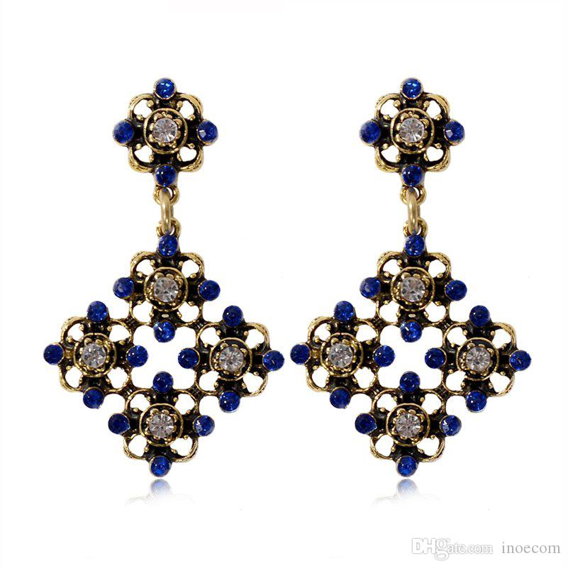 Vintage Geometric Earrings for Women Gold-color Rhinestone Long Statement Drop Earrings Female Party Jewelry Wholesale