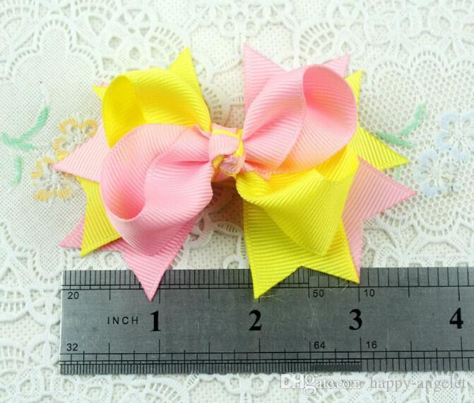 Flickor 3 tum Dubbelfärg Grosgrain Ribbon Hair Bows Clips Tillbehör Boutique Hairpins Headwear Princess Barrettes HD3205