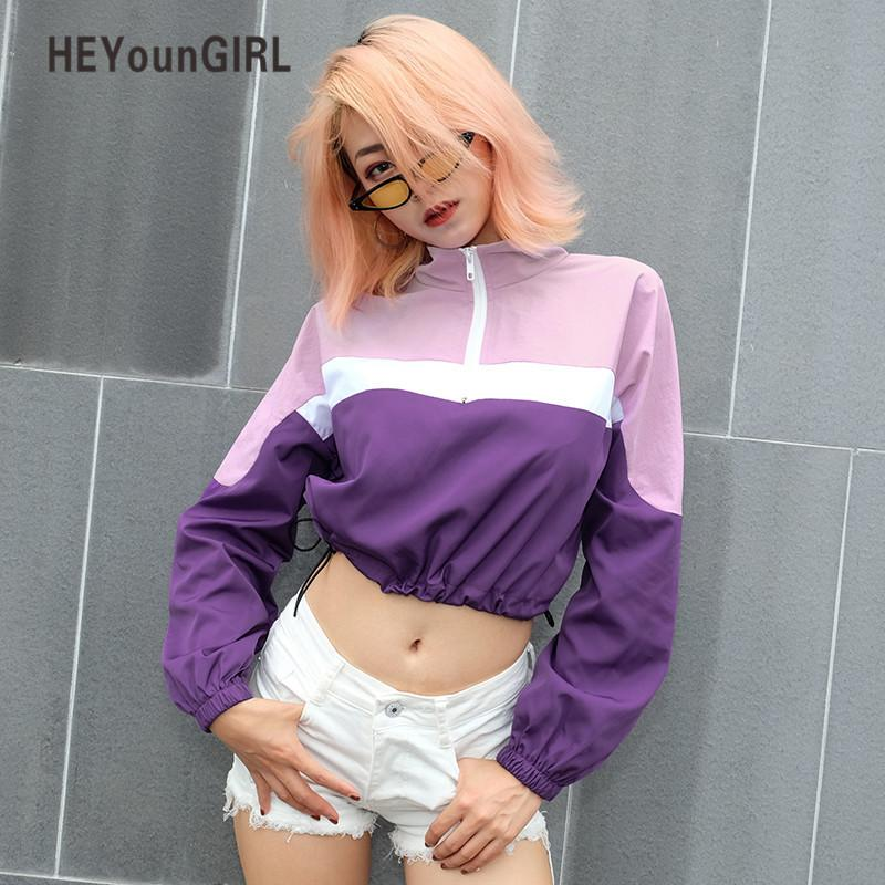 Heyoungirl Dolcevita Harajuku T Shirt Contrast Colour Manica lunga Crop Top Tee Shirt Femme Casual Donna sciolto Tshirt Autunno 2018 Y19042101