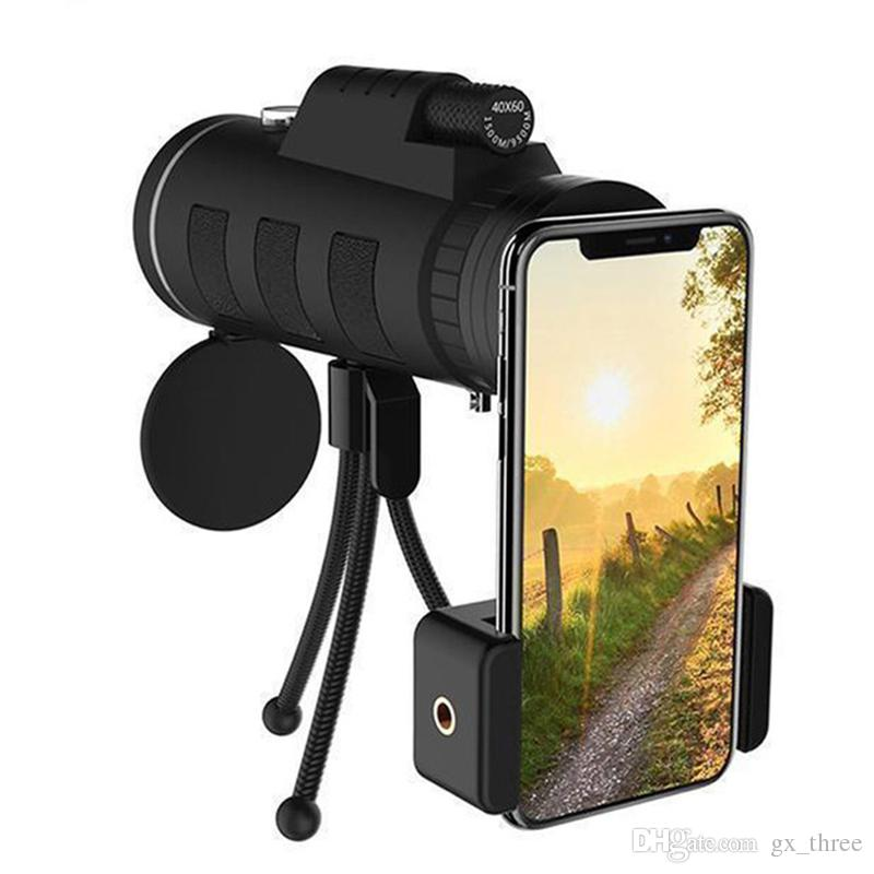 Lens for phone 40X60 Zoom Telephoto Telescope Scope Optical Monocular Phone Camera Camping Hiking Fishing with Compass Phone Clip Tripod