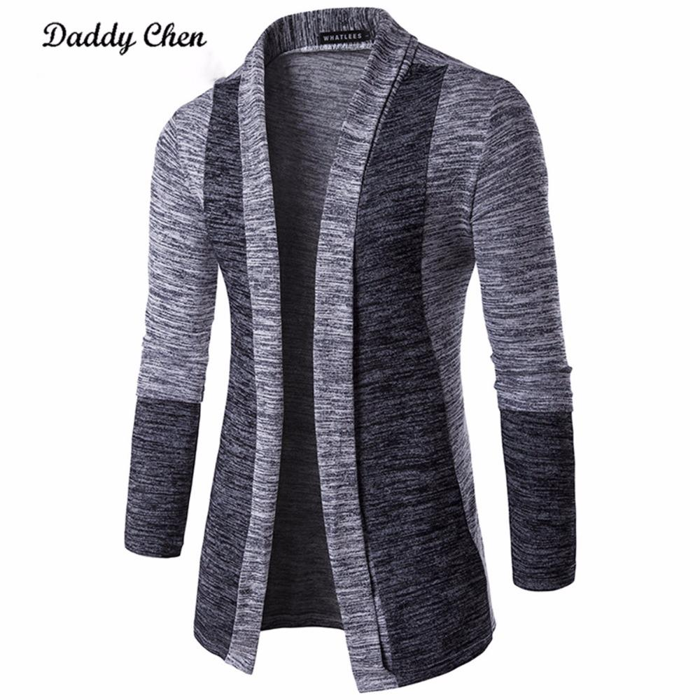 Casual Men Jacket Patchwork Long Sleeve Mens Fashion Men Trench Autumn Cotton Homme Fashion Gray Open Stitch Coat Outerwear
