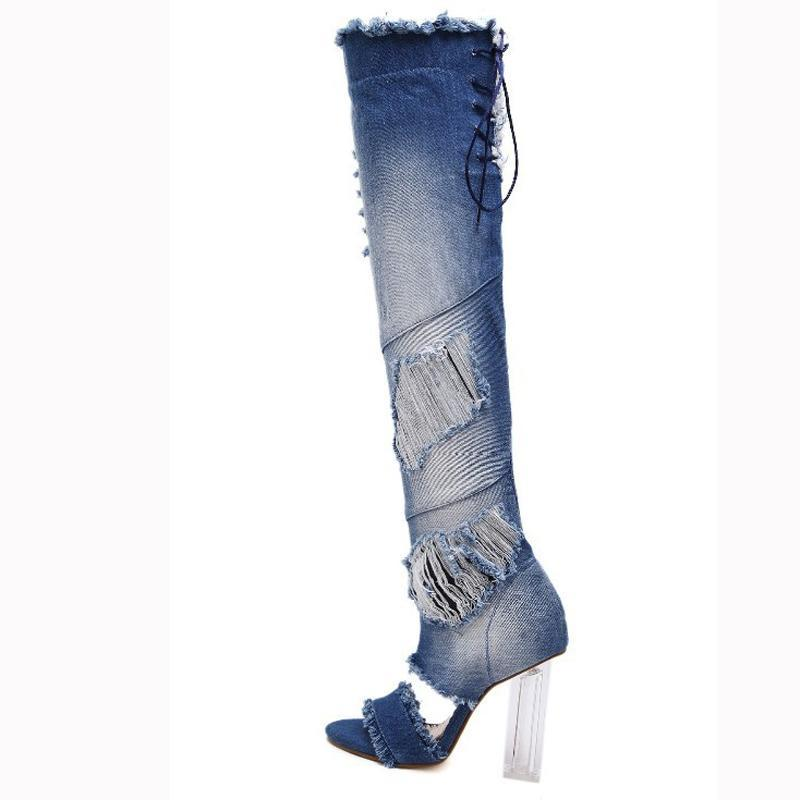 1909a1aa55 AIYKAZYSDL Women Over The Knee Thigh High Denim Boots Open Toe Transparent  Block Thick High Heel Pumps Gladiator Sandals Shoes Pumps Shoes Shoe Boots  From ...