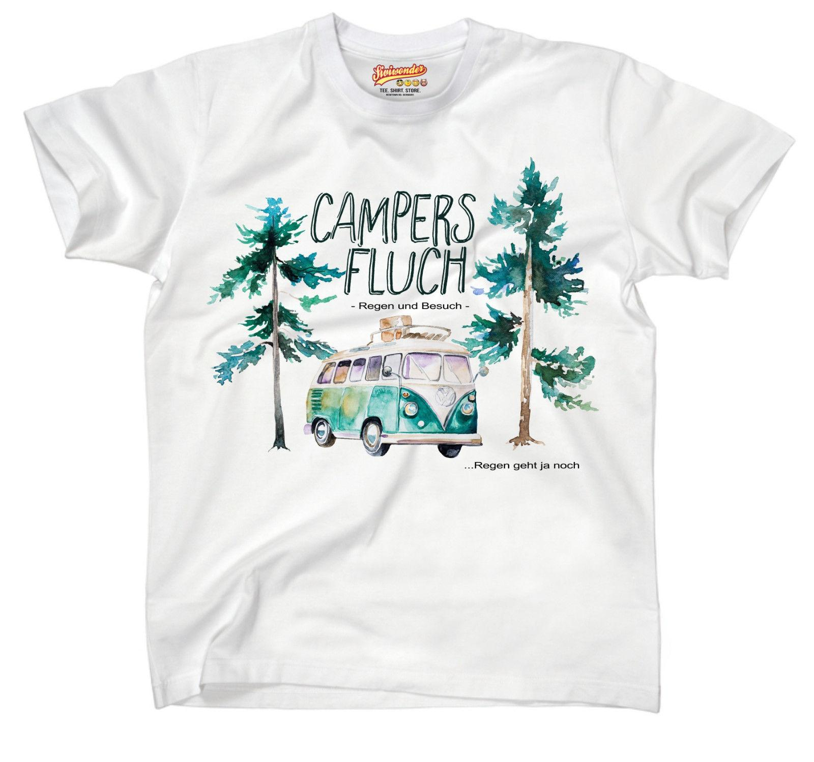 Uni T Shirt CAMPING CAMPERS FLUCH 2 BULLY Wohnwagen Regen Besuch Siviwonder Funny free shipping Uni