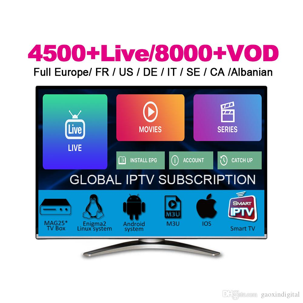 4500+ Live&VOD abonnement IPTV Subscription French Portugal Germany Italia ireland Footbal Sport ptv For New Movie Android TV Box Phone M3U