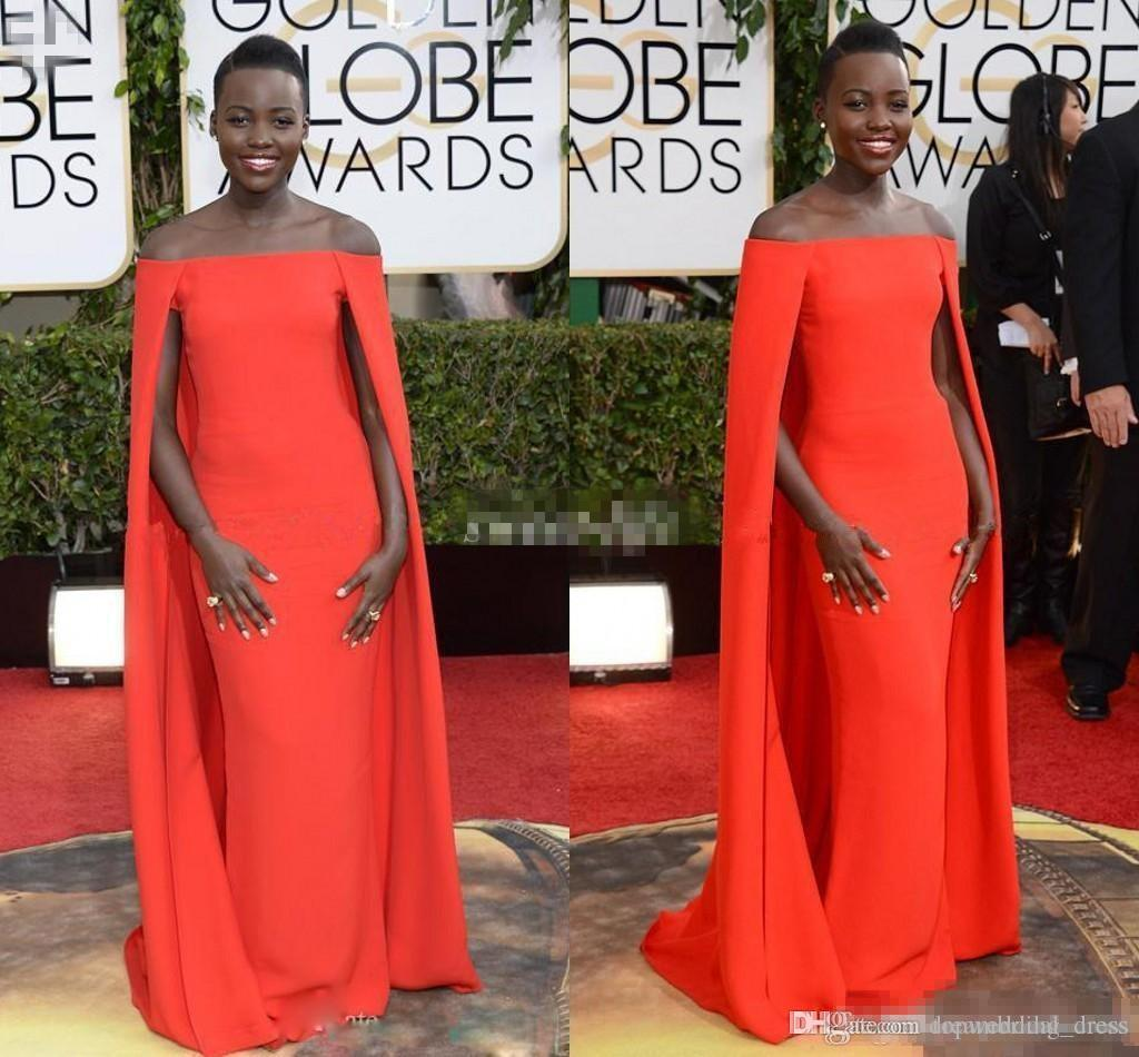 2016 Red Capet Celebrity Dresses Golden Globe Award Lupita Prom Dresses Off the Shoulder Sexy Fancy Cape Cloak Bateau Sheath Evening Gowns