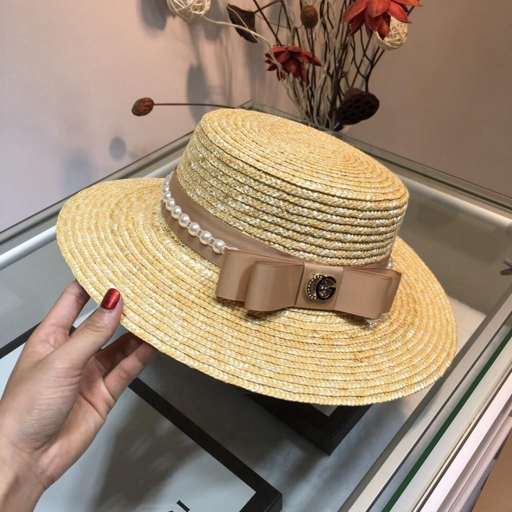 Guc 2019 new women's flat top hat New hat, straw grass weaving, exquisite design style baseball hats for men women