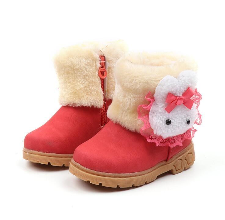 d0c2a146c Compre 2019 Nuevas Niñas De Invierno Botas De Nieve Cálido Algodón De  Dibujos Animados Conejo De Encaje Botas Para Niños Botas De Moda Niños  Zapatos De ...