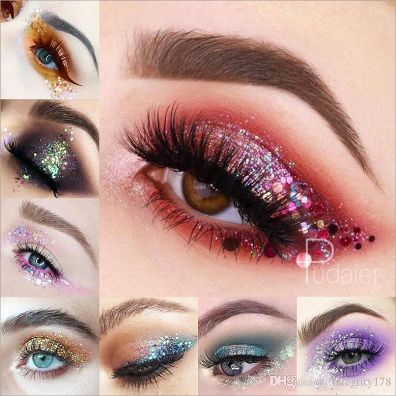 Pudaier 34 Color Pearlescent Eye Shadow Gel Cream Body Hairs Lips Diamond beads laser Sequins Shimmer Pigment Eye shadow Palette