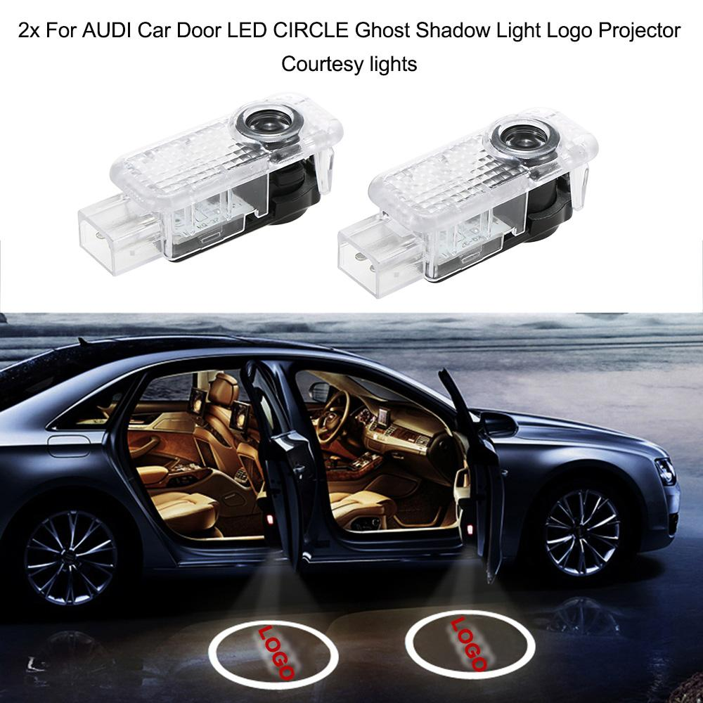 2x For AUDI Car Door LED CIRCLE Ghost Shadow Light Logo Projector Courtesy lights