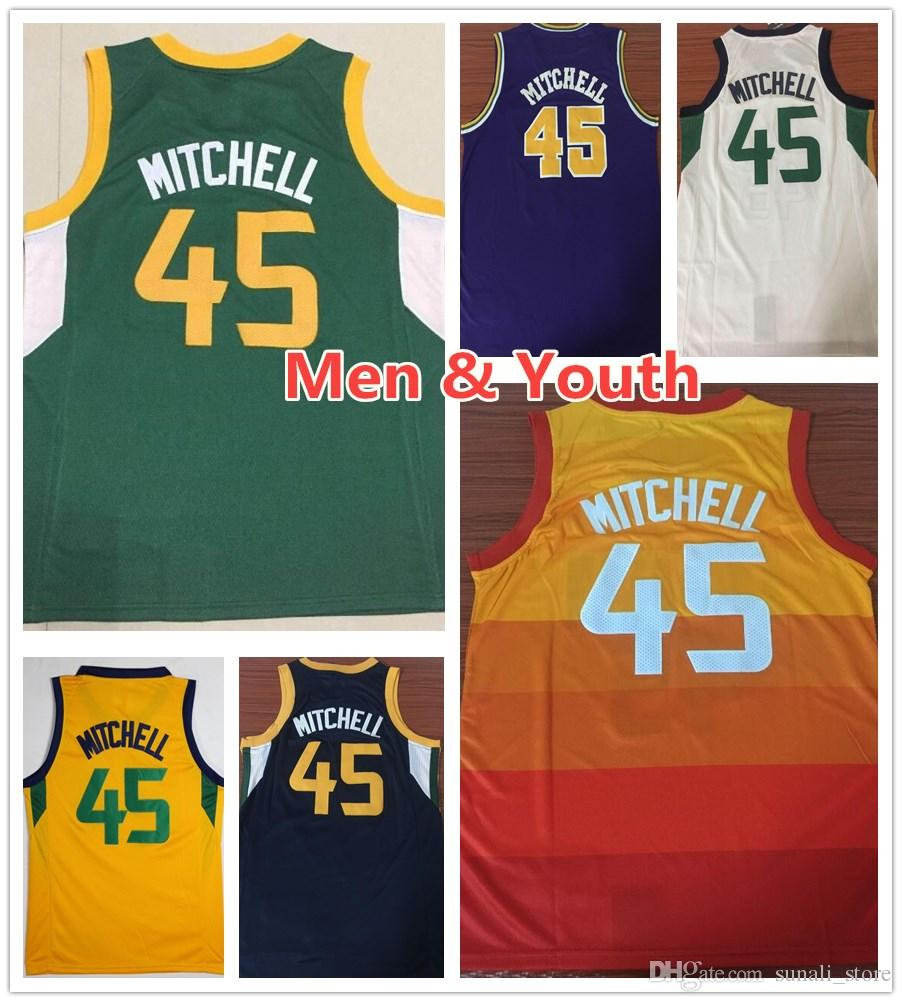 promo code 514a7 ede1e Kids Youth Mens Donovan Mitchell Basketball Jerseys 2019 New Green Orange  Blue White Yellow Donovan 45 Mitchell Jersey Stitched Shirt Boys