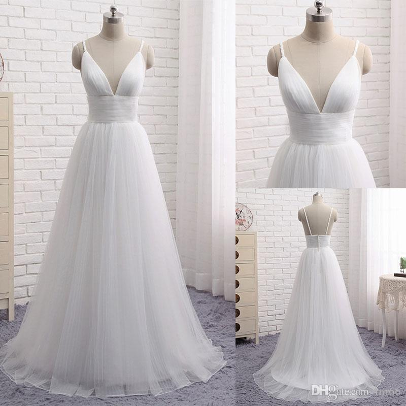 premium selection free shipping promo codes White Ivory 2019 Beach Wedding Dresses Spaghetti Straps Backless Floor  Length A line Bridal Gowns Free Sizes