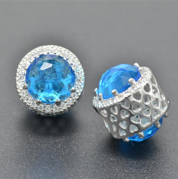 Panoumei popular paragraph Pan Duo La shining heart double-sided stone s925  silver string decorated large hole beads factory direct