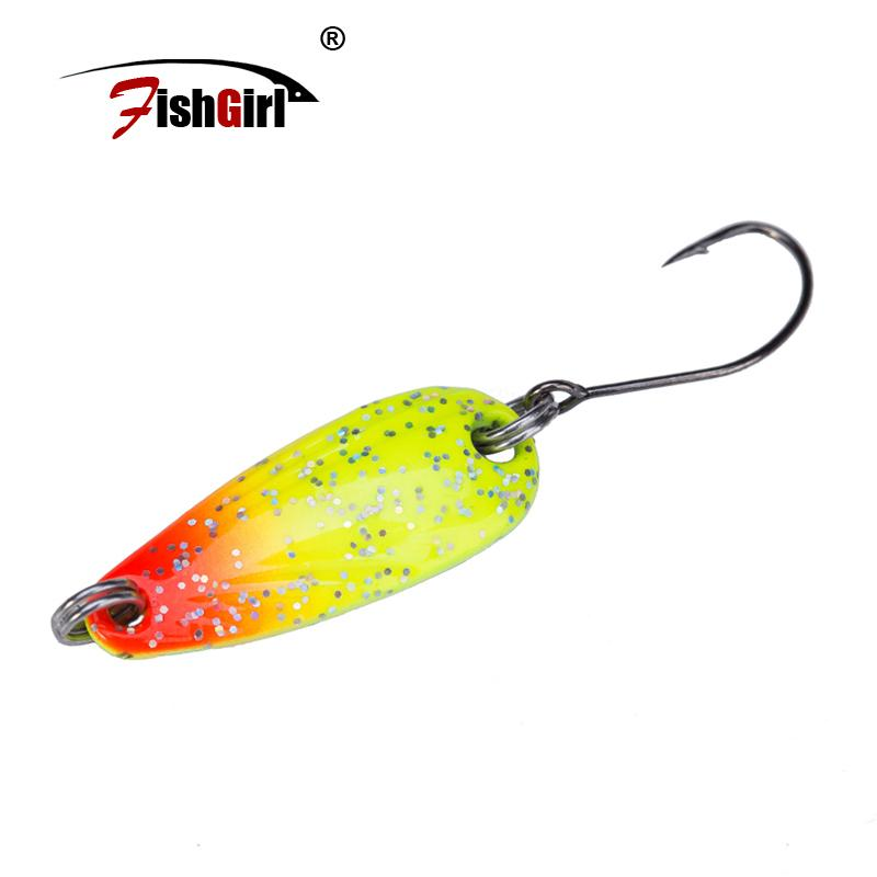 Pesca Brand Colorful Spoon Bait 3g 5.5g Metal Fishing Lure Trout Fishing Wobbler Spoon Lure Perch Pike Salmon Chub Bass