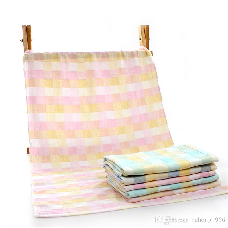 Gauze Babies Beach Towels Color Lattice Bath Towel Water Uptake Ventilation Thickening Blue Pink Color Washcloth 11 3rf E1