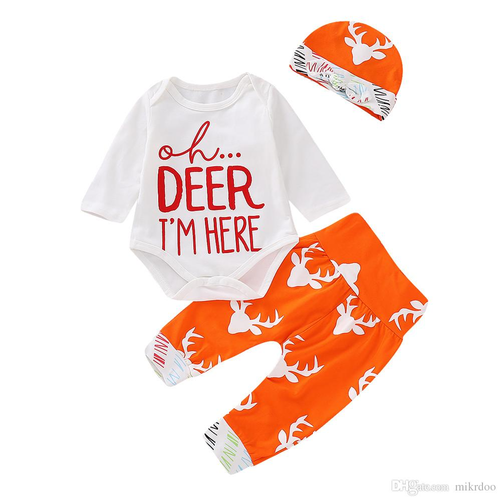 620b9cbe 2019 Mikrdoo Newborn Toddler Baby Boys Girls Christmas Clothes Set Deer And  Letter Print Long Sleeve Romper Pant Hat Outfits From Mikrdoo, $10.74 |  DHgate.