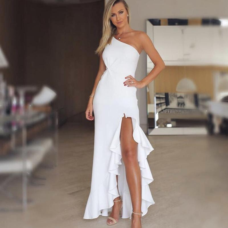 0d058989c Compre Irregular Un Hombro Vestido De Fiesta De Las Mujeres 2018 Verano Elegante  Vestido Bodycon Blanco Volantes Torcidos Hendidura Dobladillo Vestidos ...