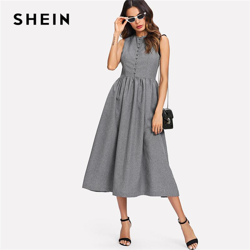 f3cf36c9d6 SHEIN Grey Weekend Casual Button Up Marled Shell Natural Waist Round Neck  Sleeveless Pocket Dress Summer Women Going Out Dresses Short Prom Dress  Evening ...
