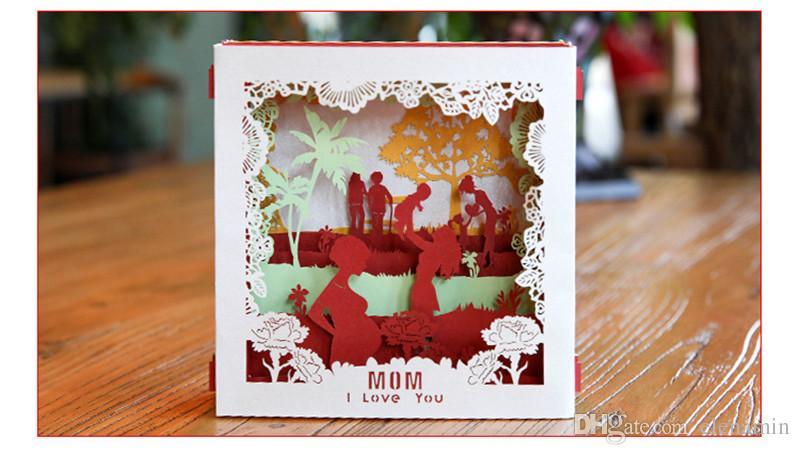 Christmas Greeting Cards Handmade.Holiday Card Creative 3d Paper Carving Mother S Day Greeting Card Handmade Graduation Kindergarten Birthday Custom Small Card