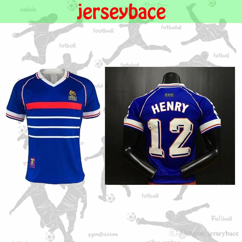 4740e52c7ed 2019 RETRO Soccer Jersey 1998 FRANCE World Cup Champions Home Away VINTAGE  ZIDANE HENRY Makelele Givash Thailand Quality Uniforms Football Shirt From  ...