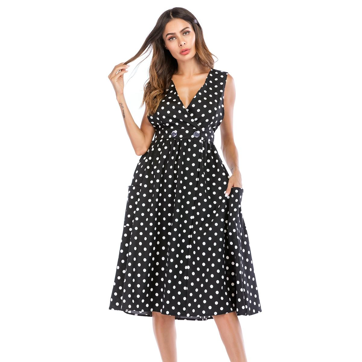 ea21e46276 2019 Evening Dresses For Women Deep V Neck Black Polka Dot Button With  Pockets Sleeveless A Line Party Evening Dinner Summer Dress 8953 From  Clothes zone