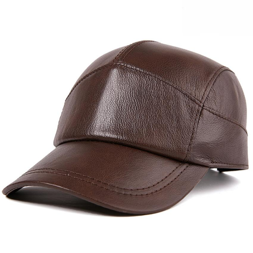 ca75ee44b7b Genuine Cowhide Leather Caps Fashion Baseball Caps Hats Luxury ...