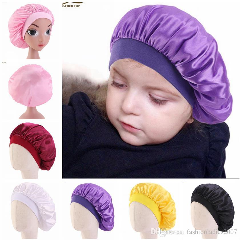 Soft Satin Sleeping Cap Salon Bonnet for Kids Boys Girls Comfortable Children Night Sleep Hat Hair Loss Cap Ladies Turban Suit 3-8Y kids