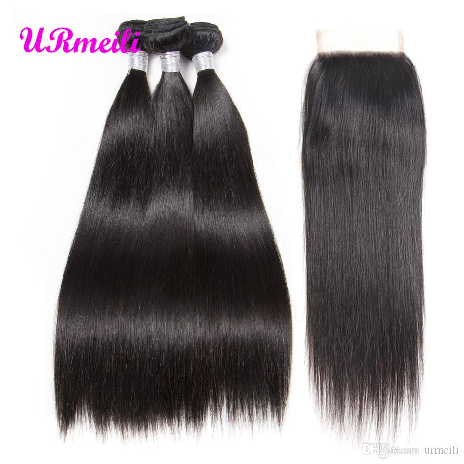 Brazilian Straight Hair 3 Bundles With Closure 100% Unprocessed Human Hair Bundles With Closure Non Remy Human Hair Extensions wholesale