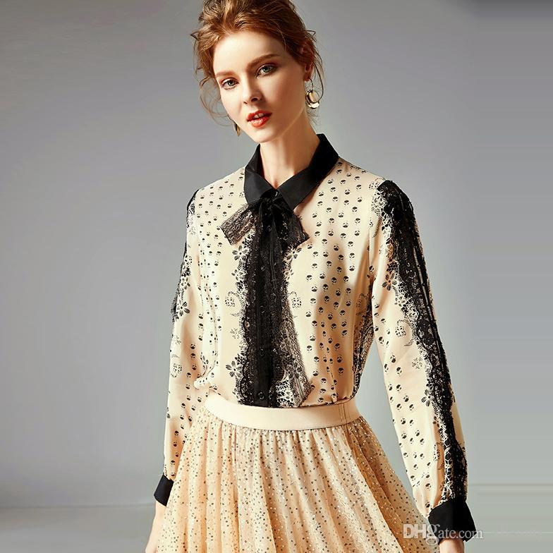 5bf92a9f8c69e5 2019 100% Pure Silk Shirts Women s Turn Down Collar Long Sleeves ...