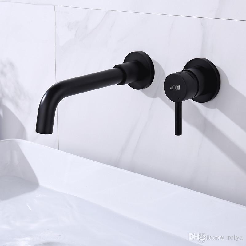 2019 ROLYA New Arrival Luxurious Solid Brass Matte Black Wall Mounted Bathroom Sink Faucets Mixer Tap
