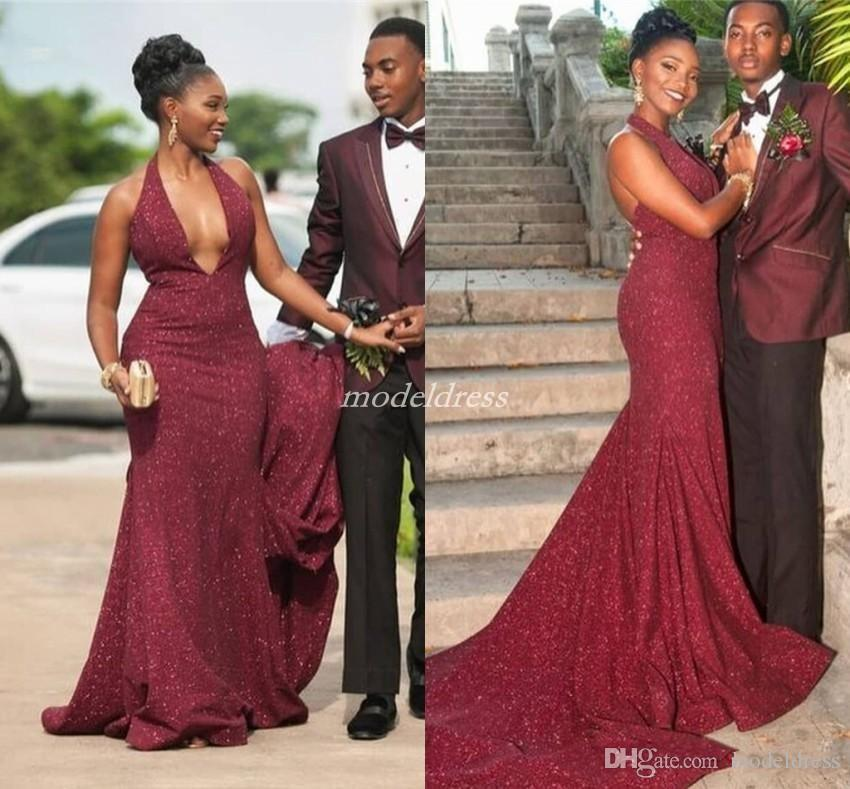 African Burgundy Mermaid Prom Dresses 2019 Halter Backless Sweep Train Sexy Formal Evening Party Gowns Celebrity Wear Special Occasion Dress